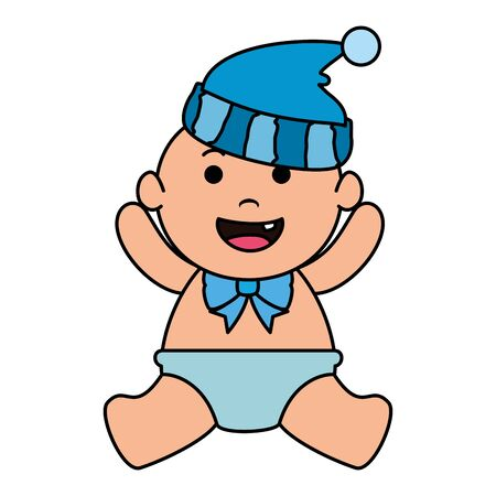 cute little baby boy with hat vector illustration design 向量圖像