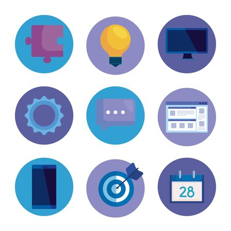 set of office icons to business media strategy over white background, vector illustration