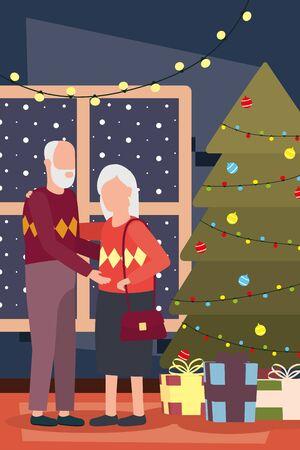 grandparents couple celebrating christmas with tree vector illustration design Illusztráció