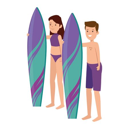 happy athletic couple practicing surf sport vector illustration design