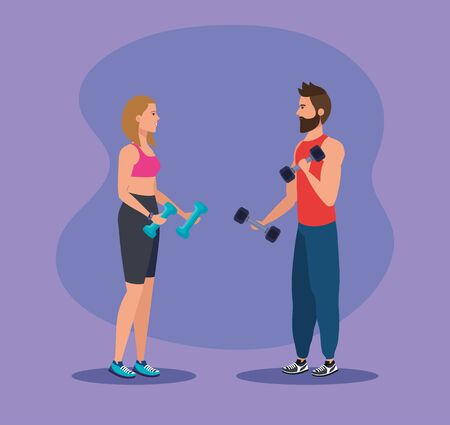 woman and man with dumbbells to practice sport over purple background, vector illustration