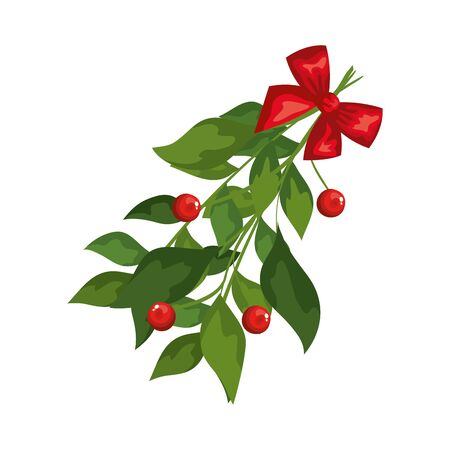 leafs with seeds and bow ribbon decoration christmas vector illustration design Banque d'images - 133834932