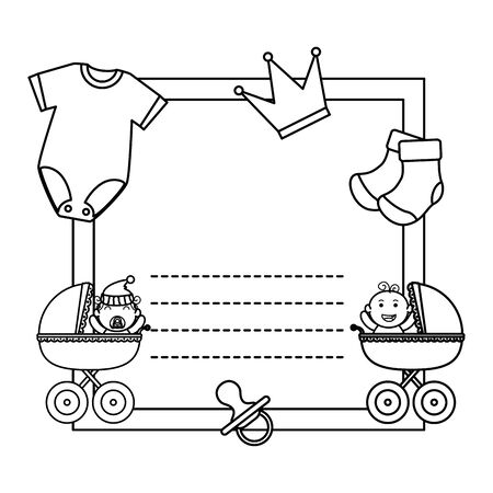 baby shower card with clothes and carts vector illustration design 版權商用圖片 - 133834944