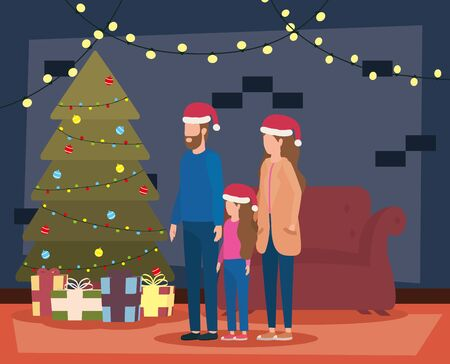 parents and daughter celebrating christmas in livingroom with tree vector illustration