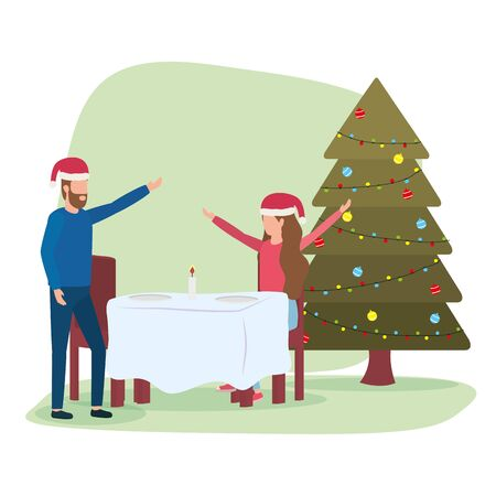 happy merry christmas couple celebrating with romantic dinner vector illustration