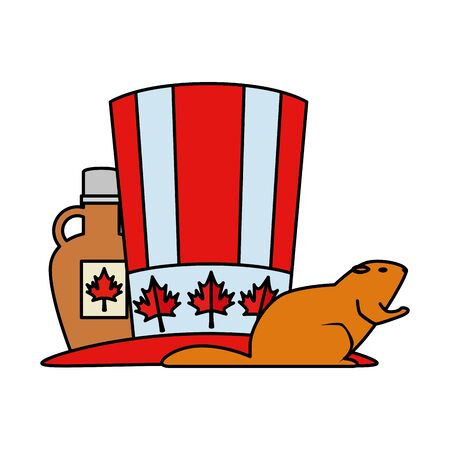 canadian tophat with maple syrup bottle and otter vector illustration design