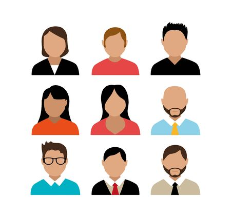 gruppo di persone avatar carattere illustrazione vettoriale design Vettoriali
