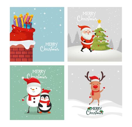 set poster of merry christmas and decoration vector illustration design Archivio Fotografico - 133681935