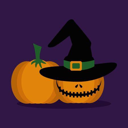 halloween pumpkins with hat witch vector illustration design Illustration