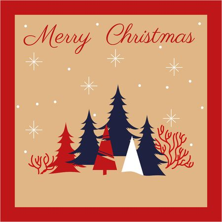 happy merry christmas card with pines snowscape vector illustration design