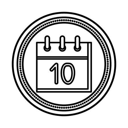 calendar reminder with number ten vector illustration design 向量圖像
