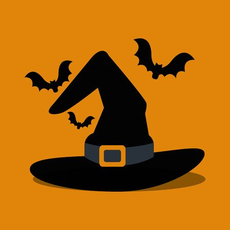 halloween hat of witch and bats flying vector illustration design Illustration
