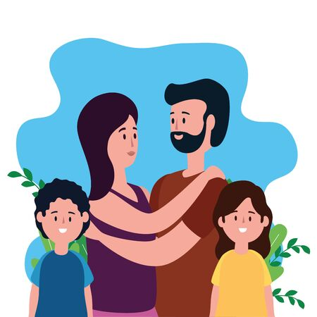 parents couple with daughter and son on the park vector illustration design Ilustrace