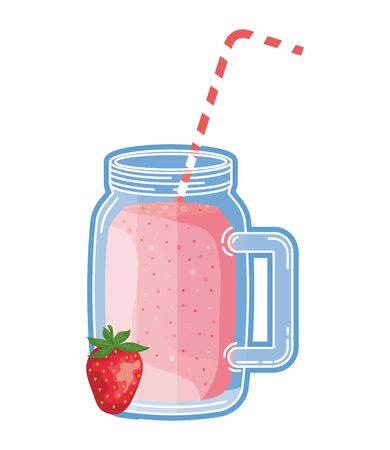 juice strawberry fruit beverage jar with straw vector illustration design 向量圖像