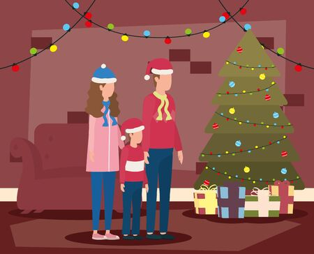 parents and son celebrating christmas in livingroom with tree vector illustration design Ilustrace