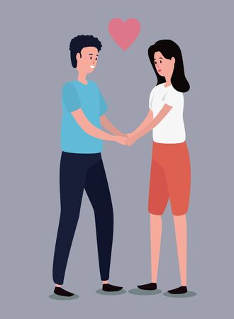 woman and man couple together with heart over gray background, vector illustration