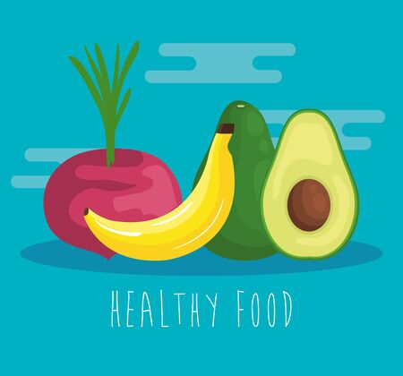 fresh onion vegetable with banana and avocado to healthy food vector illustration