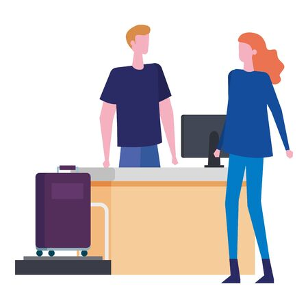 man working in airport with woman traveler vector illustration design