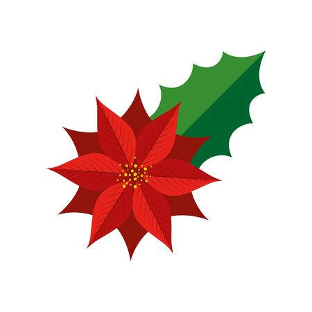 flower christmas decorative with leaf vector illustration design Çizim