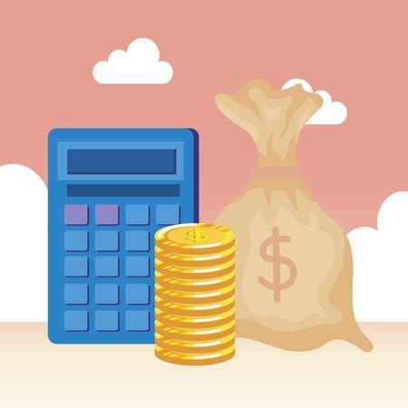 coins money dollars with bag vector illustration design