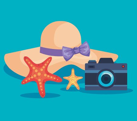 hat with starfishes and camera to summer time over blue background vector illustration