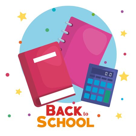 book with notebook and calculator elementary supplies to back to school vector illustration