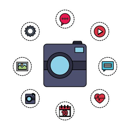 photographic camera with application menu vector illustration design