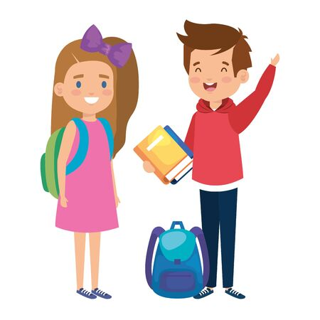 happy little students couple characters vector illustration design Ilustrace