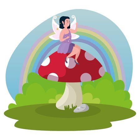magic fairy sitting fungus in scene magic vector illustration design