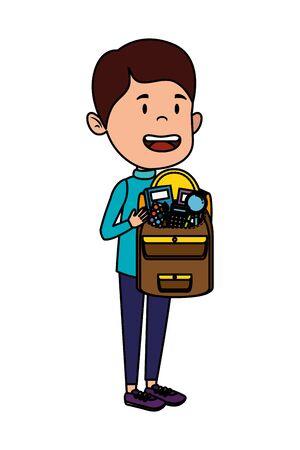 happy student boy with schoolbag vector illustration design
