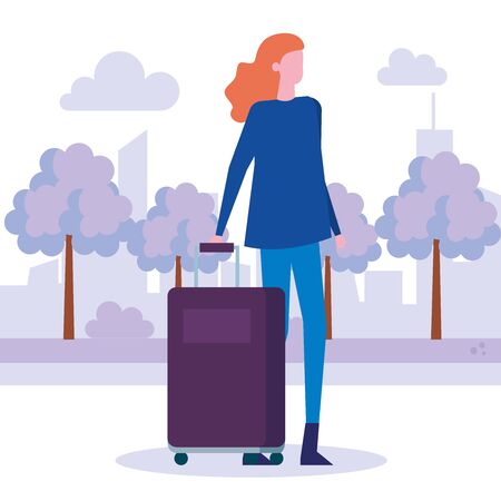 woman with casual clothes and hairstyle with baggage around of trees and bushes plants, vector illustration