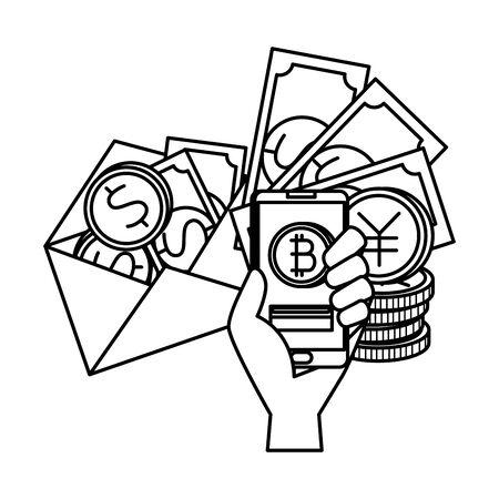 envelope with bill and coins dollars vector illustration design Иллюстрация