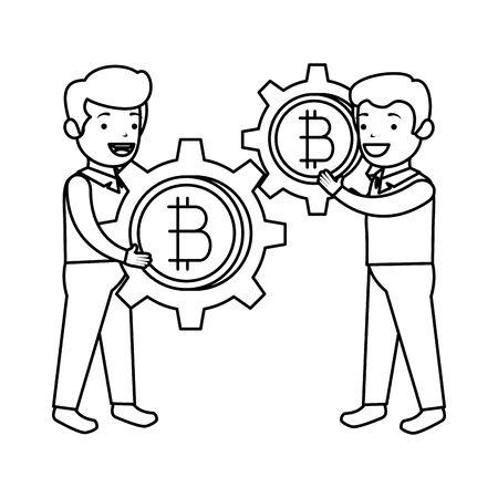 businessmen lifting bitcoin icon vector illustration design Иллюстрация