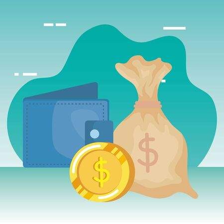 coins money dollars with wallet vector illustration design Иллюстрация