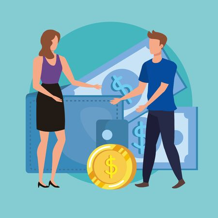 young couple with coins and bills money characters vector illustration design