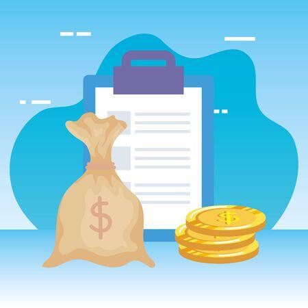 checklist clipboard with money bag vector illustration design