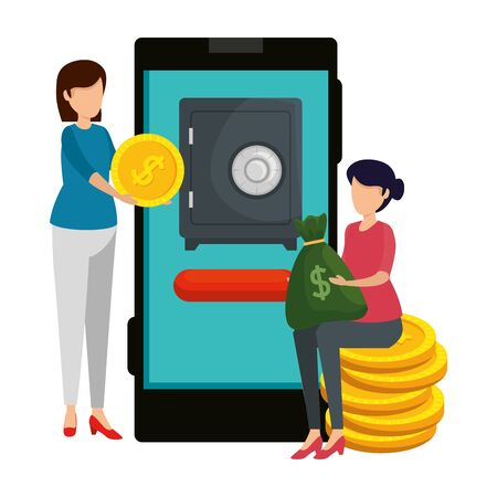 young women using smartphone with safe box and coins vector illustration design
