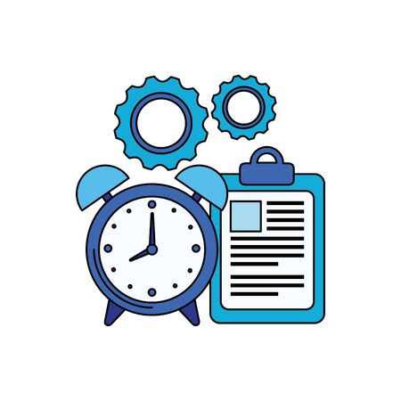 alarm clock with checklist icon vector illustration design