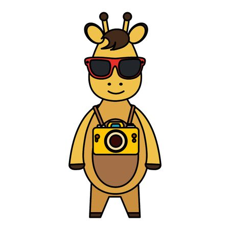 cute giraffe with summer sunglasses and photographic camera vector illustration