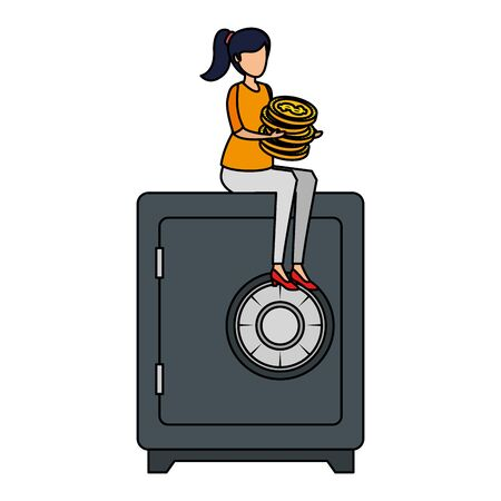 young woman with coins seated in safety box vector illustration design
