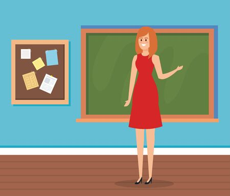 woman teacher in the classroom with blackboard and note board to academic education vector illustration Ilustracja
