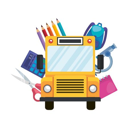 school bus transport with education icons vector illustration design Ilustrace