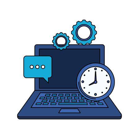 laptop computer with time clock vector illustration design Ilustração