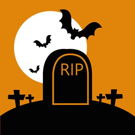 halloween tomb in cemetery with bats flying vector illustration design Ilustracja