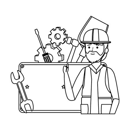 professional mechanic worker with set tools vector illustration design