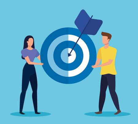 woman and man teamwork with target and arrow to business strategy, vector illustration