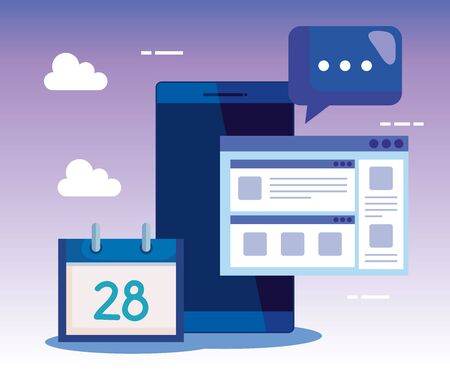 smartphone technology with calendar and chat bubble with website to business strategy, vector illustration Çizim
