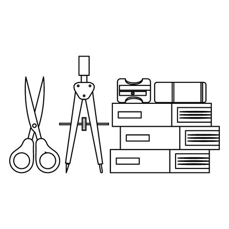 pile textbooks with scissors and supplies vector illustration design