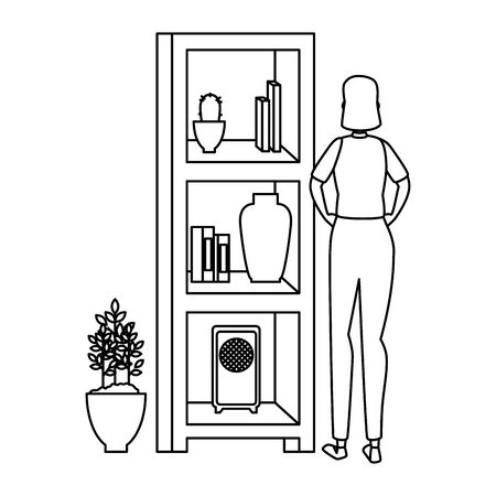 woman in house place with shelving scene vector illustration design