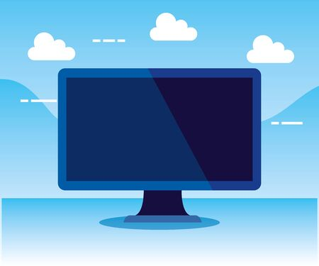 computer technology to office business strategy with clouds, vector illustration Çizim